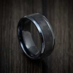 Black Titanium and Black Carbon Fiber Mens Ring