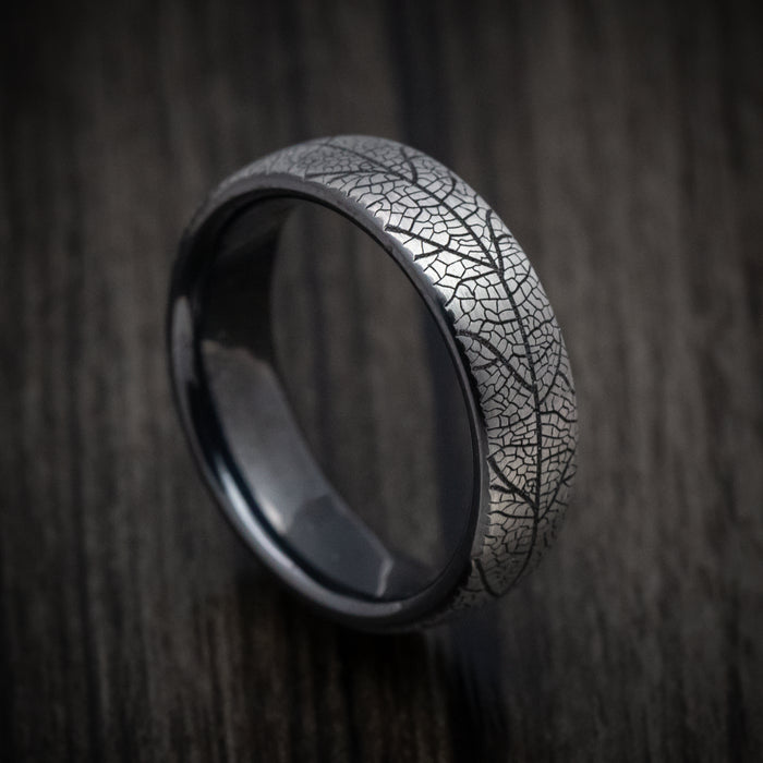 Black Titanium Leaf Pattern Mens Ring