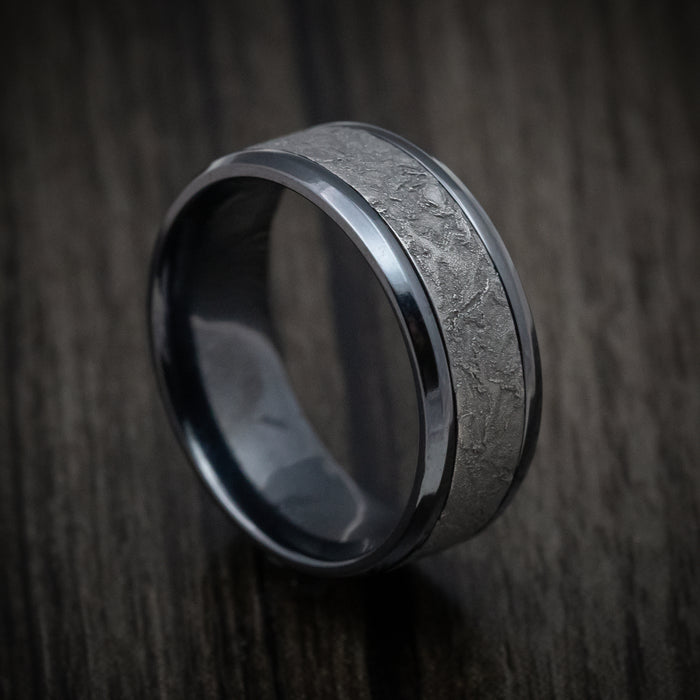 Black Titanium and Splatter Finish Tantalum Custom Mens Ring