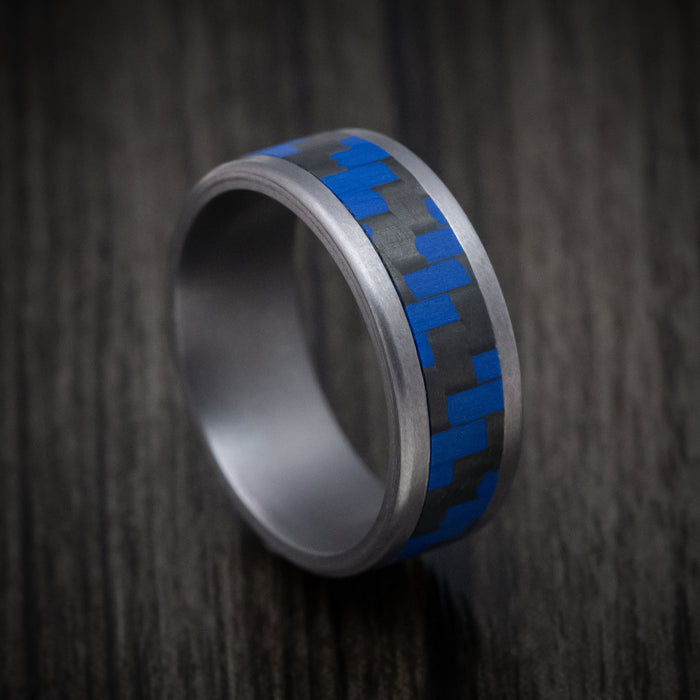 Tantalum and Blue Carbon Fiber Mens Band