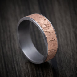 Tantalum and 14K Rose Gold Textured Mens Band