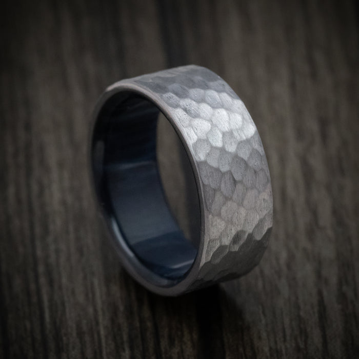 Hammered Tantalum Ring with Wood Sleeve