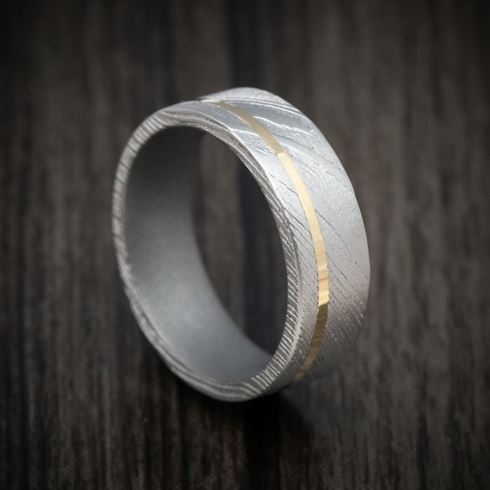Damascus Steel Ring with Cerakote Sleeve and Gold Inlay
