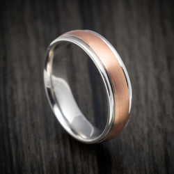 Two-tone 14K Rose and White Gold Wedding Band