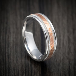 Two-tone 14K Rose and White Gold Millgrain Wedding Band