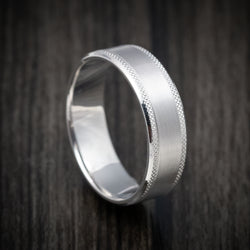 14K White Gold Knurled Classic Wedding Band