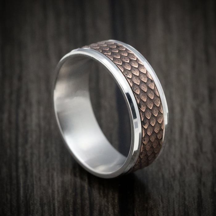 14K White and Rose Gold Dragon Scale Design Wedding Band