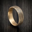 14K Yellow Gold Tree Bark Design Wedding Band