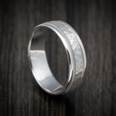 14K White Gold Hammer Millgrain Design Wedding Band