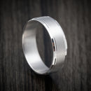14K White Gold Beveled Classic Wedding Band