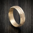 14K Yellow Gold Textured Wedding Band