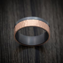 Blackened Tantalum and Hammered 14K Rose Gold Inlay Ring