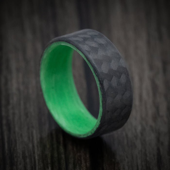 Carbon Fiber Ring with Green Glow Sleeve