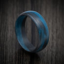 Carbon Fiber Ring with Blue Glow Marbled Design