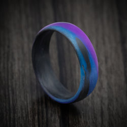 Carbon Fiber Ring with Purple and Blue Glow Marbled Design