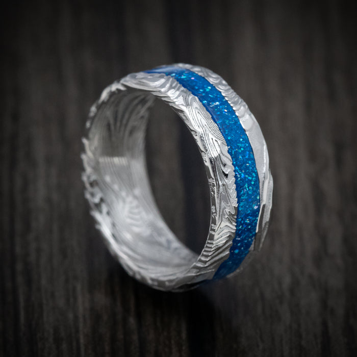 Sunset Kuro Damascus Steel and DiamondCast Inlay Ring Custom Made