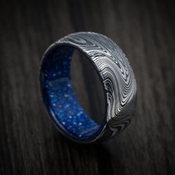 Marble Kuro Damascus Steel and DiamondCast Sleeve Ring Custom Made