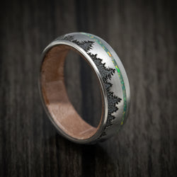 Titanium and Opal Ring with Tree Design and Wood Sleeve Custom Made Band