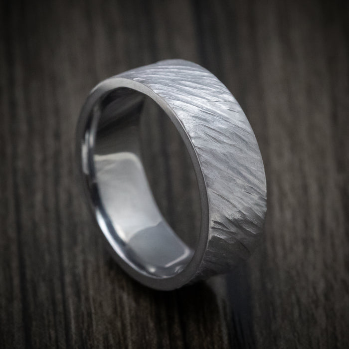 Tantalum Angled Tree Bark Finish Ring