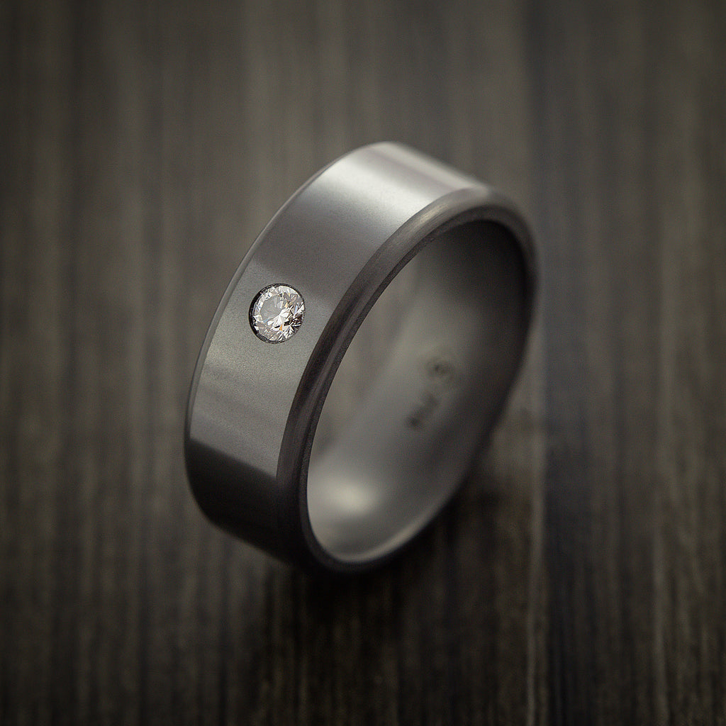 Elysium Black Diamond Wedding Band Rounded with Polish Finish with a Brilliant Diamond
