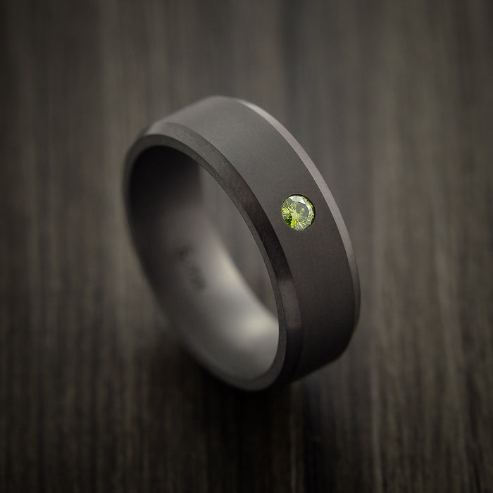 Elysium Black Diamond Wedding Band Beveled with Matte Finish with a Brilliant Green Diamond