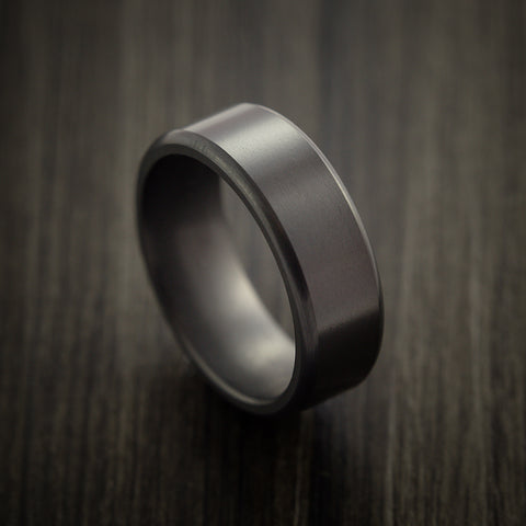 Elysium Black Diamond Wedding Band Rounded with Satin Finish