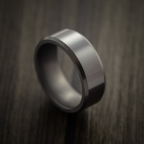 Elysium Black Diamond Wedding Band Beveled with Polish Finish
