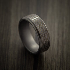 Elysium Black Diamond Wedding Band with Celtic Laser Engraving