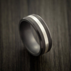 Elysium Black Diamond Wedding Band Beveled With Matte Finish With A Platinum Inlay