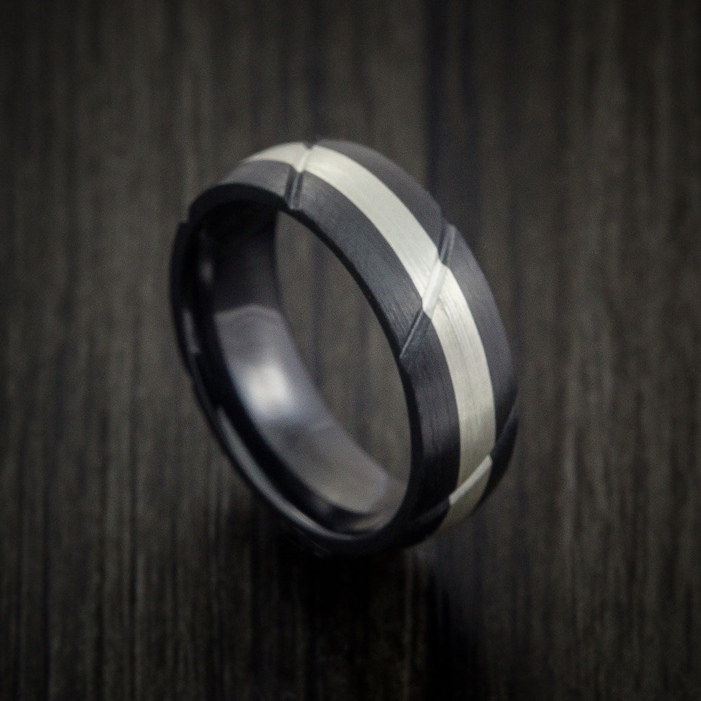 Black Zirconium Textured Ring with Silver Inlay Wedding Band Any Size and Finish Alternative Look