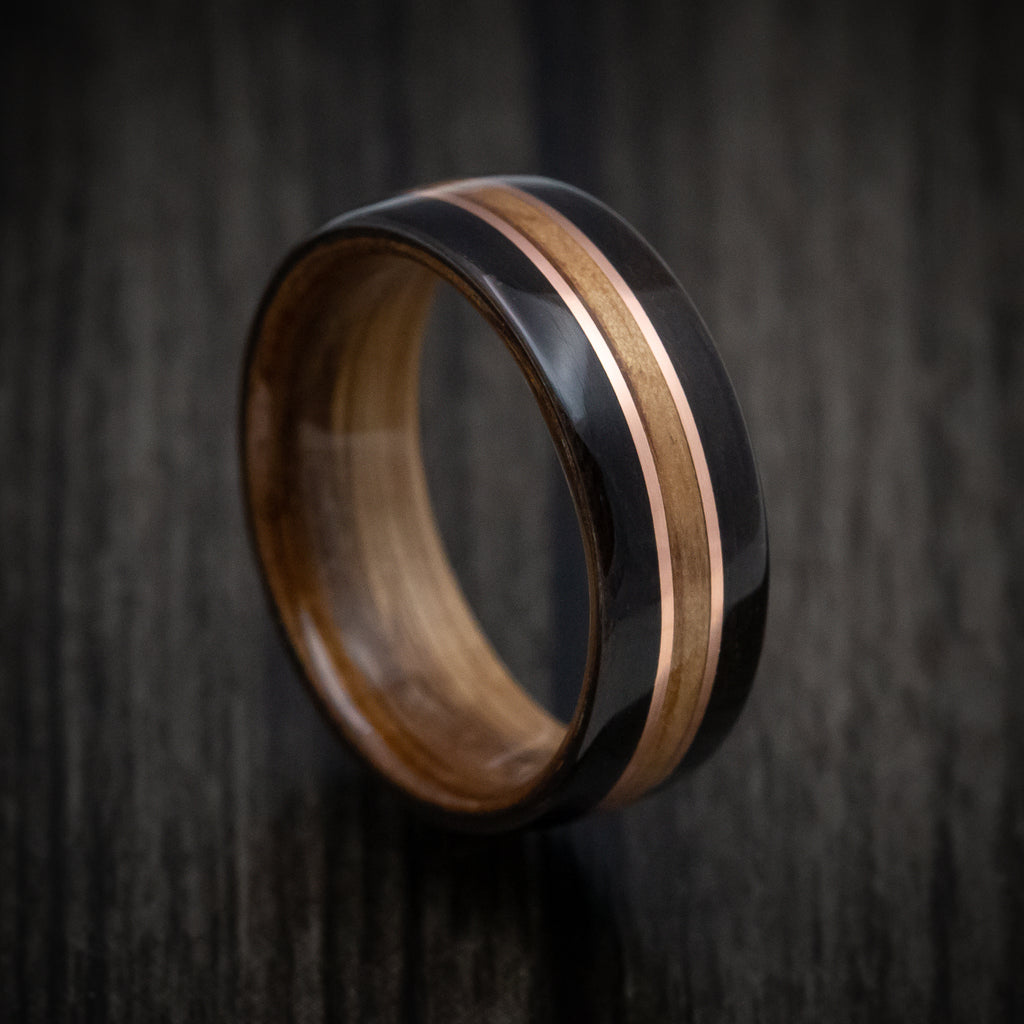 Prime Sterling Silver Wooden Band with Ebony inlay