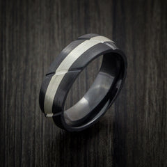 Black Zirconium Textured Ring with Silver Inlay Wedding Band Any Size and Finish Alternative Look by Revolution Jewelry