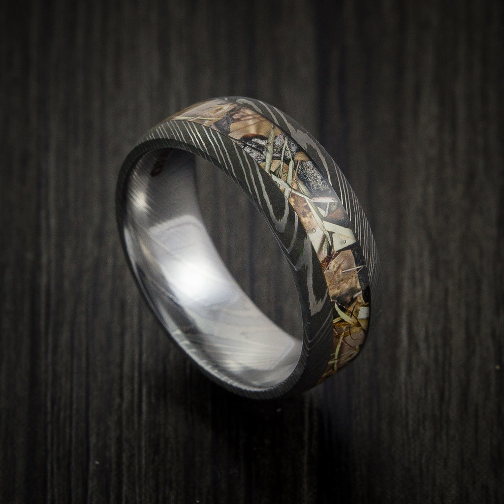King's Camo Mountain Shadow and Damascus Steel Ring Acid Finish - Revolution Jewelry  - 1