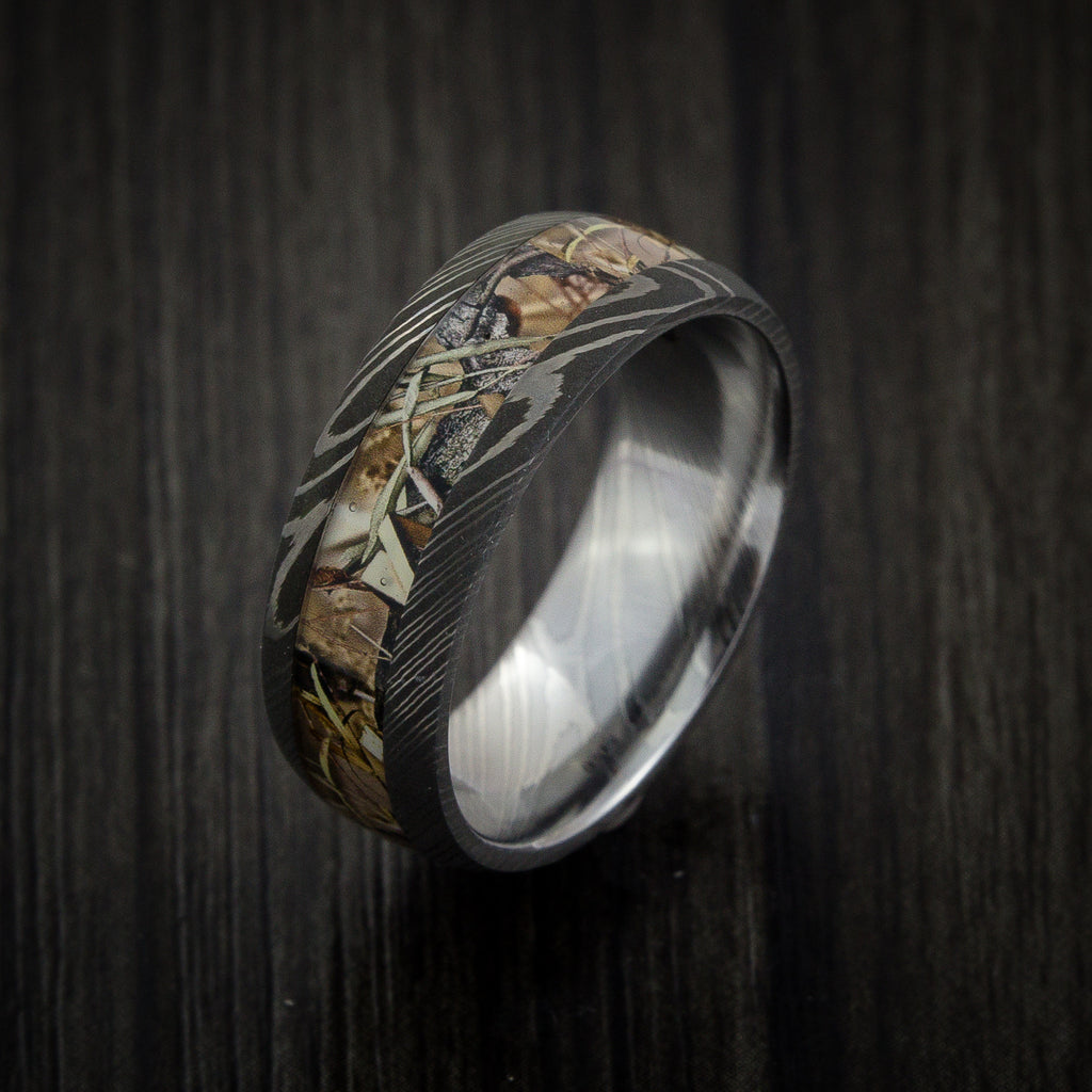 Damascus Steel Custom Made Mossy Oak 8mm ring with Break Up Infinity DS/_8HR/_BUI
