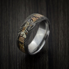 King's Camo Mountain Shadow and Damascus Steel Ring Acid Finish - Revolution Jewelry  - 4