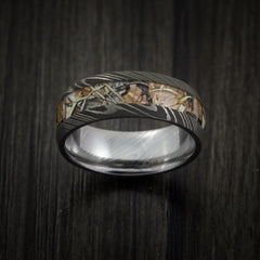 King's Camo Mountain Shadow and Damascus Steel Ring Acid Finish - Revolution Jewelry  - 2