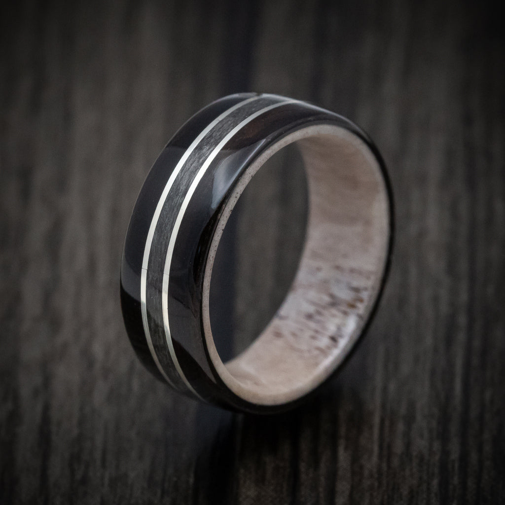 wedding rings Wooden wedding band Antler Made in Canada Birds eye maple with Brass wire wooden ring Unisex wooden ring