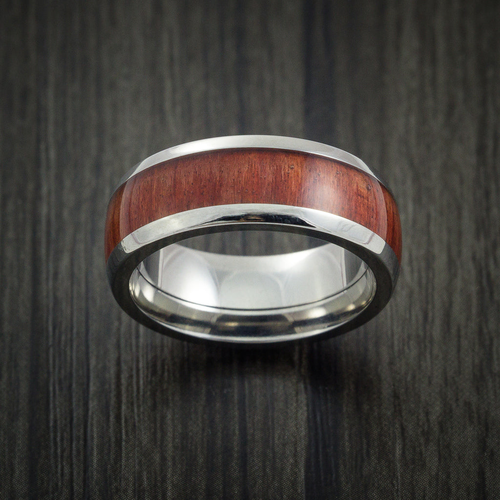 Wood Ring and Titanium Ring inlaid with RED HEART WOOD Custom Made to Any Size and Optional Wood Types