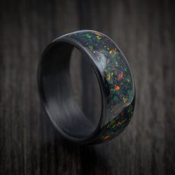 Carbon Fiber and Opal Ring with Glow Custom Made Band