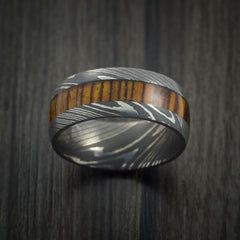 Wood Ring and DAMASCUS Ring inlaid with LEOPARD WOOD HARDWOOD Custom Made - Revolution Jewelry  - 2