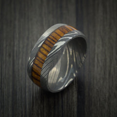 Wood Ring and DAMASCUS Ring inlaid with LEOPARD WOOD HARDWOOD Custom Made - Revolution Jewelry  - 3