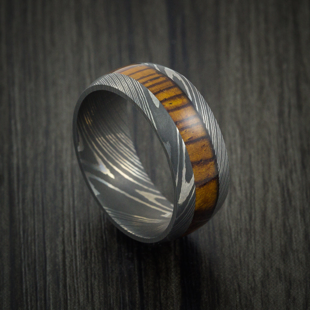 Wood Ring and DAMASCUS Ring inlaid with LEOPARD WOOD HARDWOOD Custom Made - Revolution Jewelry  - 1
