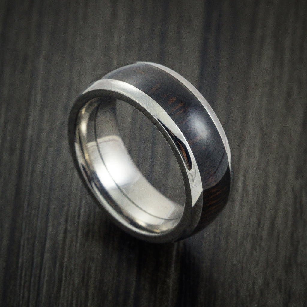 Wood Ring and Titanium Ring inlaid with WENGE HARD WOOD Custom Made to Any Size and Optional Wood Types