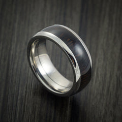 Wood Ring and Titanium Ring inlaid with WENGE HARD WOOD Custom Made to Any Size and Optional Wood Types - Revolution Jewelry  - 1