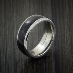 Wood Ring and Titanium Ring inlaid with WENGE HARD WOOD Custom Made to Any Size and Optional Wood Types - Revolution Jewelry  - 3