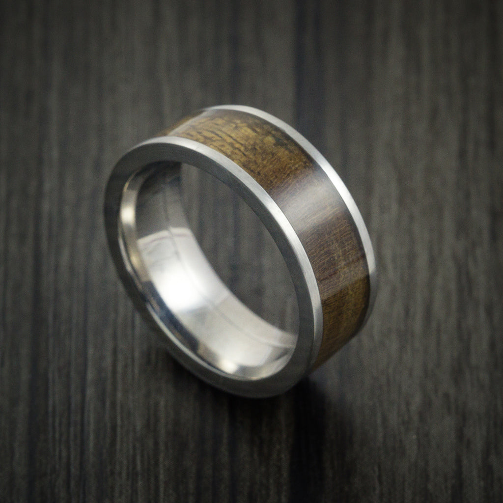 Wood Ring and Titanium Ring inlaid with CANXAN BURL WOOD Custom Made to Any Size and Optional Wood Types - Revolution Jewelry  - 1