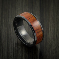 Black Zirconium and WOOD Ring inlaid in PADAUK WOOD Custom Made to Any Size and Optional Wood Types by Revolution Jewelry
