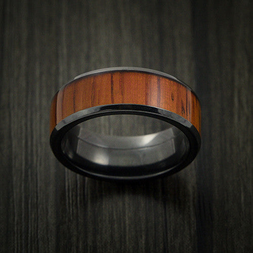 Black Zirconium and WOOD Ring inlaid in PADAUK WOOD Custom Made to Any Size and Optional Wood Types