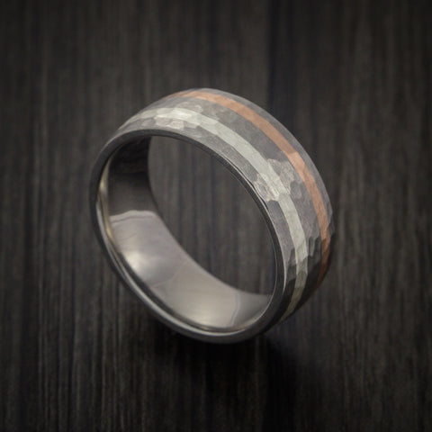 Titanium Ring with Copper and Silver Inlays Hammer Finish Custom Made Band