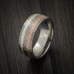 Titanium Ring with Copper and Silver Inlays Hammer Finish Custom Made Band - Revolution Jewelry  - 4